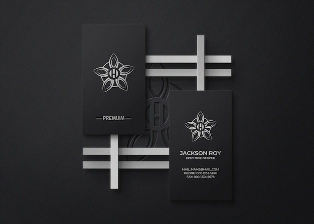 Top view business card logo mockup with embossed and letterpress effect