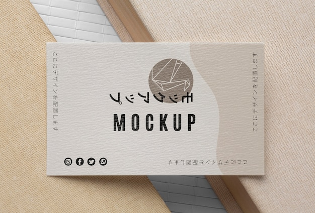 Top view business card mock-up assortment