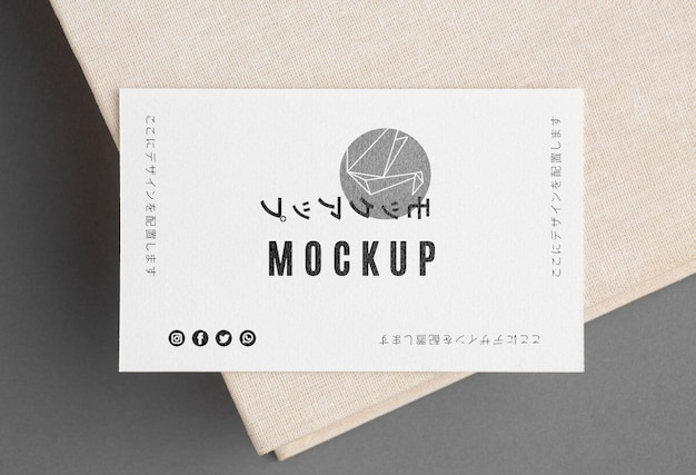 Top view business card mock-up composition