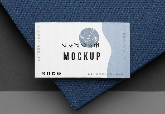 Top view business card mock-up
