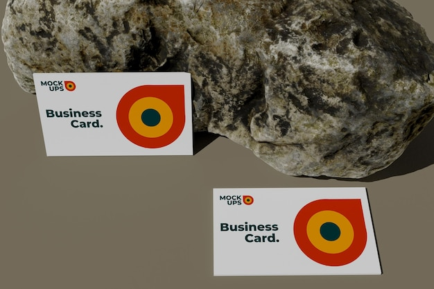 Top view business card mockup on rock