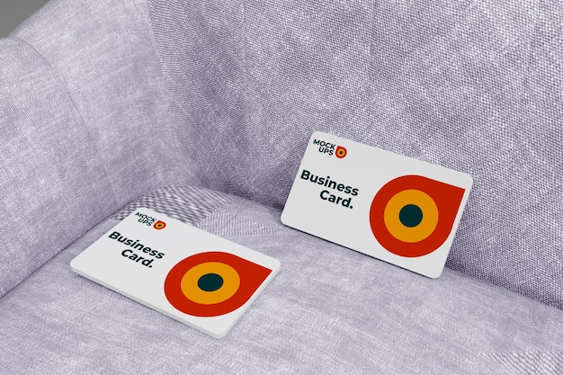 Top view business card mockup on sofa