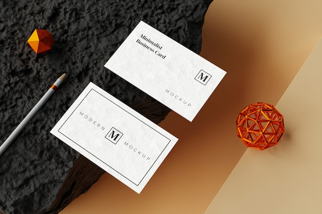 Top view on business card mockup