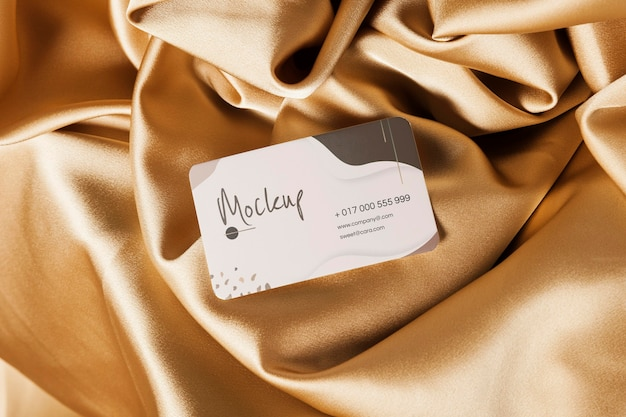 Top view business card in soft fabric