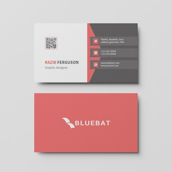 Top view of business card template