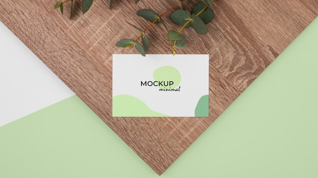 Top view business card on wood