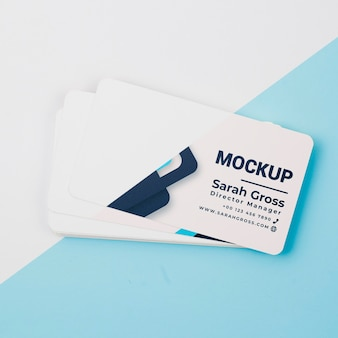 Top view business cards mock-up