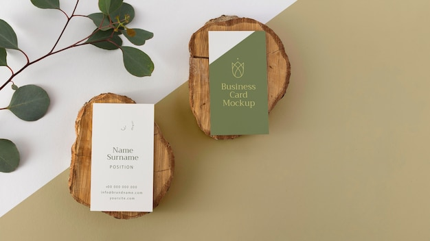 Top view business cards on wood