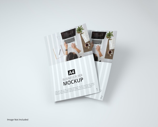 Top view on business flyer mockup