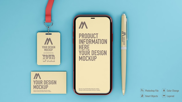 Top view of card, badge, smartphone and pencil mockup isolated