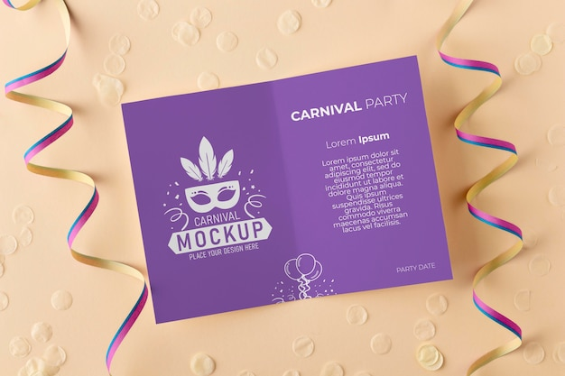 Top view card mock-up with confetti