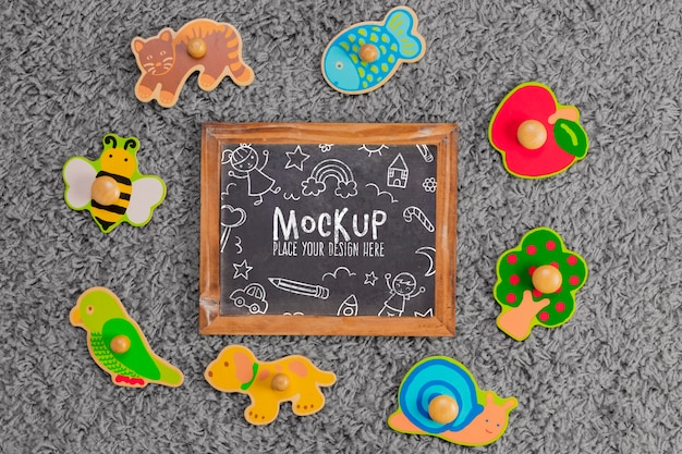 Top view of children toys with chalkboard