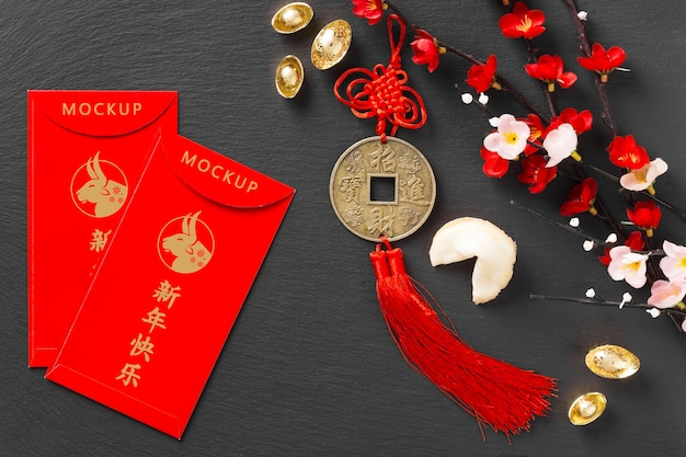 Top view chinese new year 2021 with envelopes mock-up