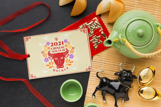 Top view of chinese new year mock-up