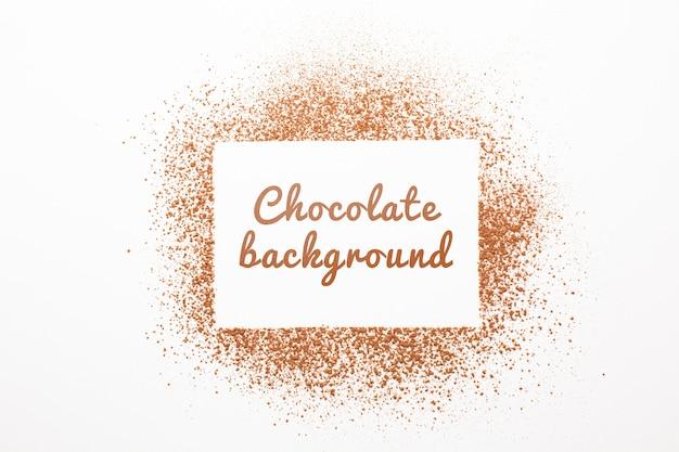 Вид сверху шоколадный порошок фон макет