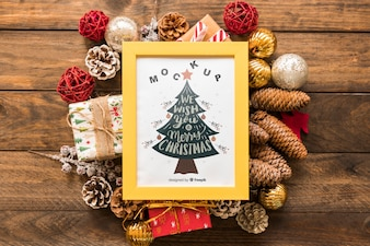 Top view christmas composition with frame mockup