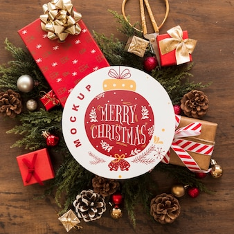 Top view christmas composition with round paper mockup