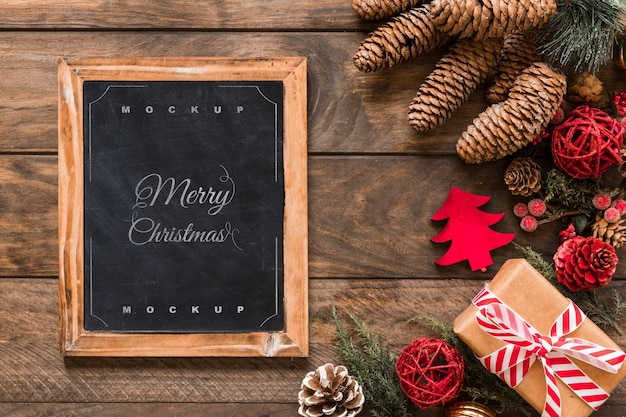 Top view christmas composition with slate mockup
