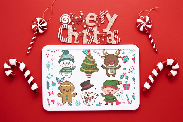 Top view christmas concept with frame