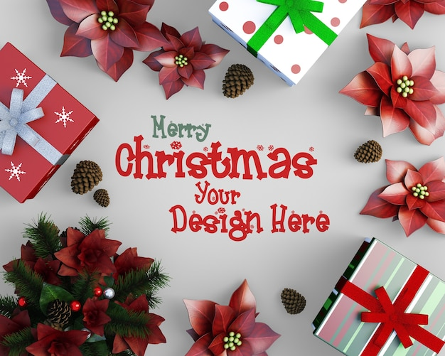 Top view of christmas decoration layout christmas mockup