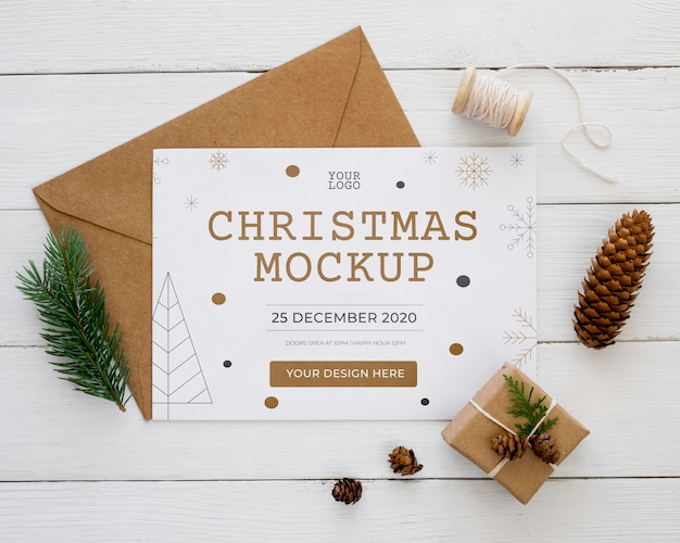 Top view christmas eve assortment mock-up Free Psd