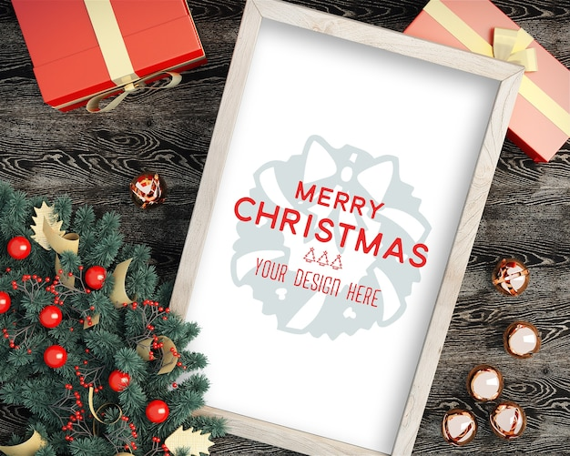 Top view of christmas picture frame christmas mockup