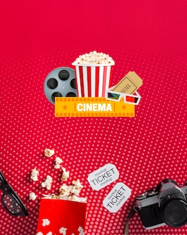 Top view cinema mock-up with popcorn