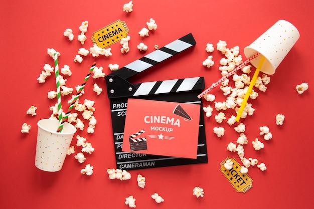 Top view cinema mockup with popcorn
