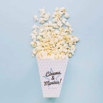 Top view of cinema popcorn in cup