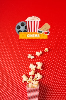 Top view cinema popcorn paper bag