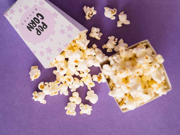 Top view of cinema popcorn