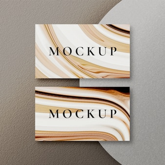 Top view of clean business card mockup