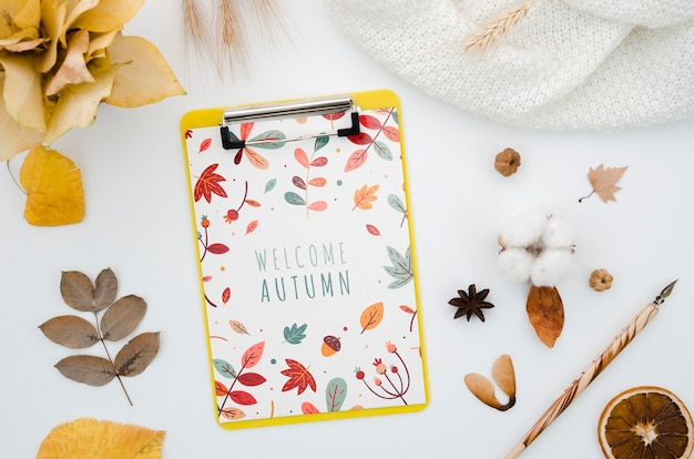 Top view clipboard mock-up with welcome autumn