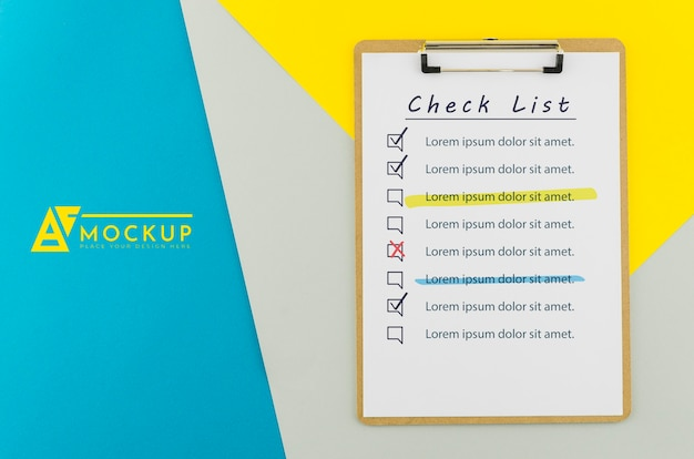 Top view clipboard with check list