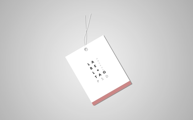 Top view of clothes label tag mockup
