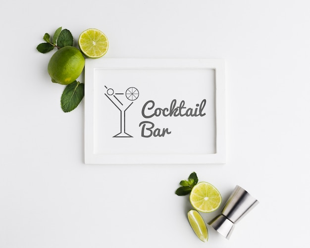 Top view of cocktail concept mock-up