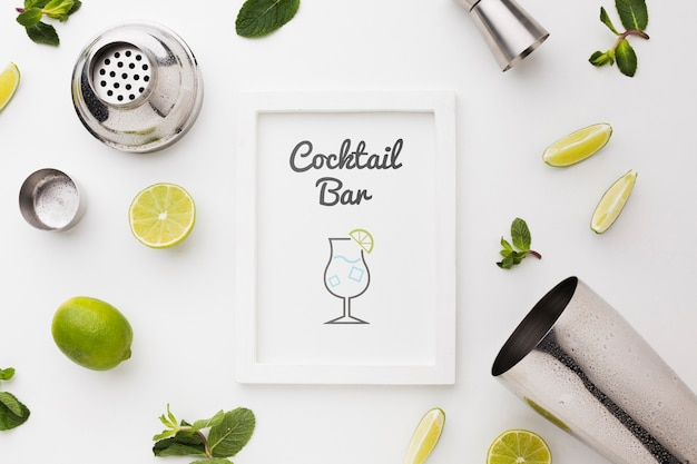 Top view of cocktail mock-up concept