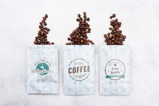 Top view coffee beans mockup