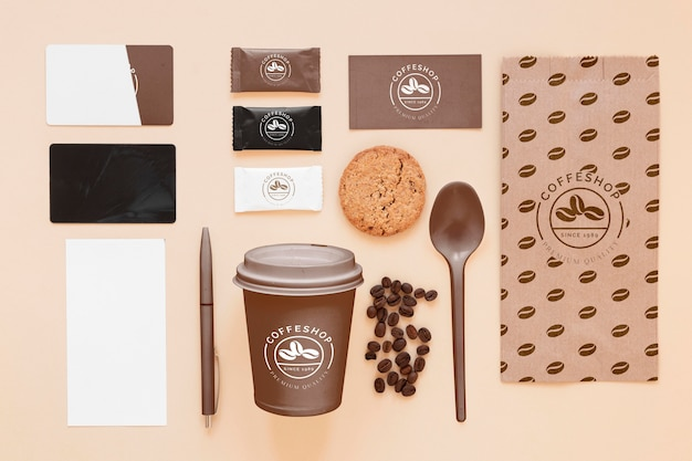 콩 상위 뷰 커피 브랜딩 개념