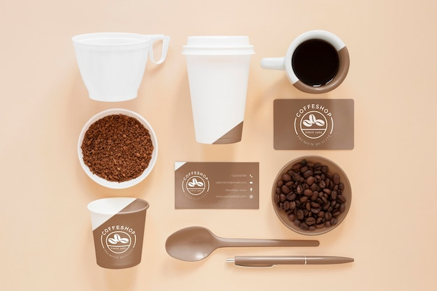 Top view coffee branding items