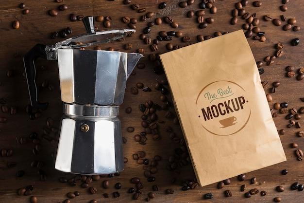 Vista dall'alto del mock-up del concetto di caffè