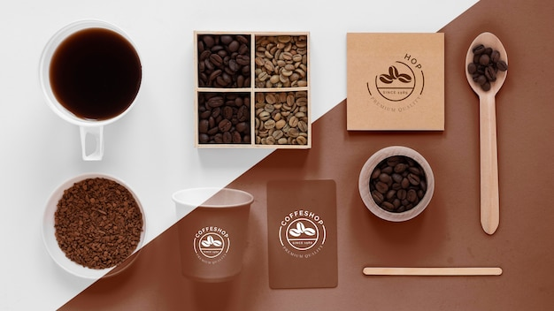 Top view of coffee concept mock-up