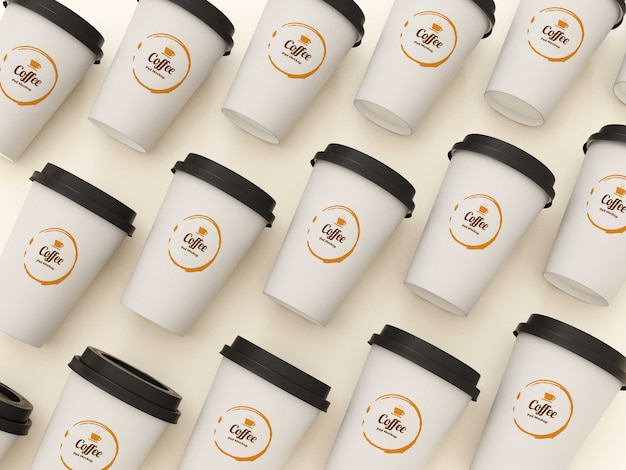Top view coffee cups mockup