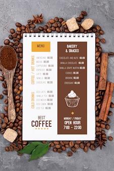 Вид сверху макет меню кофе