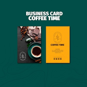 Top view coffee time business card template