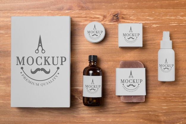 Top view of collection of beard care products