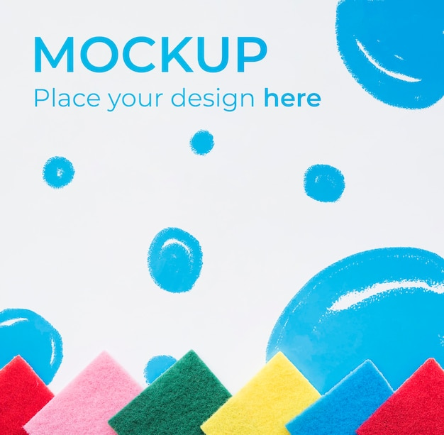 Top view colorful sponges mock-up