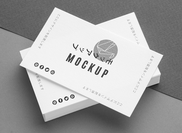 Top view composition of business visiting card