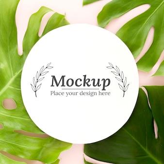 Composizione vista dall'alto di foglie verdi con mock-up