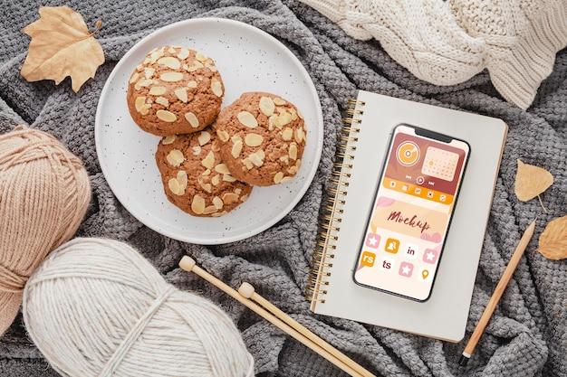 Top view cookies and phone arrangement